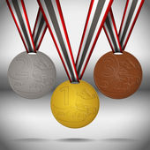 Gold, silver and bronze medals with ribbon. — Stockvektor