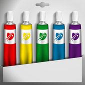 Cinco tubos de pintura en una caja. ilustración vectorial. — Vector de stock