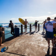 Surfing Surfers Crowds Pier Jump — Stock Photo