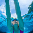 Girl Swims Underwater Pool Summer — Stock Photo #36617045