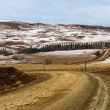 Dirt Road Winter Farmlands Mountains — Stock Photo