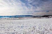 Winter Snow Mountain Farmlands — Stock Photo