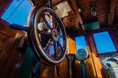 Steam Tug Vessel Pilot Wheel Cabin — Stock Photo