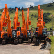 Stockfoto: New Excavator Earthwork Machines Yard