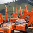 New Excavator Earthwork Machines Yard — Stockfoto #37637411