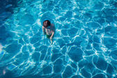Boy Underwater Surfacing Pool — Stock Photo