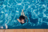 Girl Underwater Surfacing Pool — Stock Photo