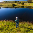 Girl Fishing Dam Mountains — Stock Photo #37902157