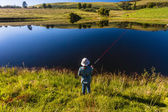 Girl Fishing Dam Mountains — Stock Photo