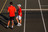 Tennis Coach Pupil Talk — Fotografia Stock