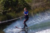 Teen Boy Waterskiing Dam — Stock Photo