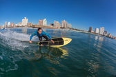 Surfing SUP Surfers Riding Blue — Stock Photo