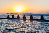 Sunrise Waves Power Tidal Pool — Stock Photo
