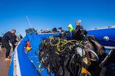 Scuba Dive Boat Oxygen Bottle Rigs Divers — Stock Photo