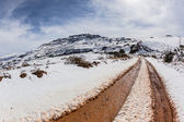 Snow Mud Road Tracks Mountains — Stock Photo