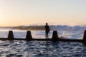 Surfer Pool Jump Ocean Waves — Stock Photo