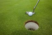 Golf Putter Ball Hole — Stock Photo