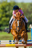Equestrian Girl Horse Jumping Competition — Stock Photo