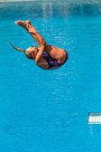 Girl Pool Diving Aquatic — Foto Stock