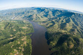 Air Birds Eye View Dam Landscape Waters — Stock Photo