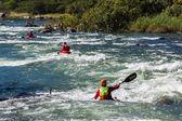 Kayaks River Rapids Action — Stock Photo