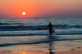 Dawn  Sunrise Surfski Paddlers  — Stock Photo