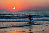 Dawn  Sunrise Surfski Paddlers  — Stock Photo