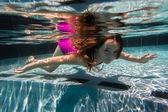 Girl Young Underwater Swimming Pool Summer — Foto de Stock