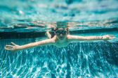 Boy Young Underwater Swimming Pool Summer — Foto Stock
