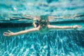 Boy Young Underwater Swimming Pool Summer — Foto de Stock