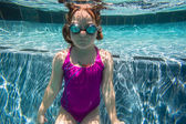 Girl Young Underwater Swimming Pool Summer — Foto Stock