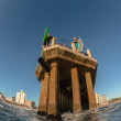 Стоковое фото: Surfing Waves Swimmers Water Jumping Entry Pier