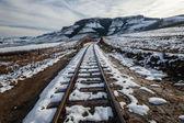 Train Tracks Snow Mountains — Stock Photo