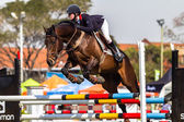 Equestrian Horse Rider Jumping Nationals — Stock Photo