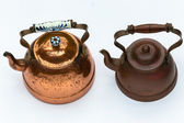 Copper Kettles Vintage — Stock Photo