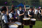 Scottish Pipers Schlagzeug Bands sammeln — Stockfoto