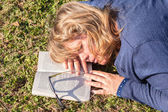 Woman Book Sleep Nap Grass — Stock Photo