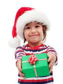Little boy with christmas gift — Stock Photo