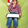 Little boy with tablet computer — Photo