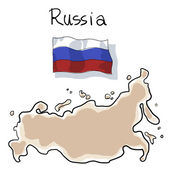 Falg and map of Russia  painting by wacom — Stock Photo