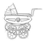 Baby wandelwagen vintage lijntekeningen — Stockfoto