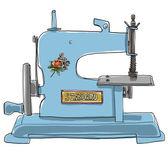 Máquina de coser juguetes antiguos azul francés shabby chic juguete antiguo — Foto de Stock