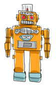 Retro  Robot toys Children painting style — Foto Stock