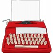 Red Vintage Typewriter Industrial Kids Portable with paper — Stock Photo