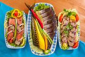 Seafood appetizer red fish mackerel — Zdjęcie stockowe
