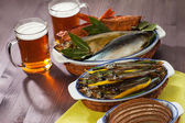 Seafood beer appetizer — Stock Photo