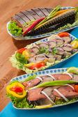 Seafood appetizer salads — Stockfoto