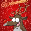 Frohe Frohe Weihnachten with Rudolph reindeer. Red postcard with snowflakes. Vertical format. (German) — Stock Photo #36175443