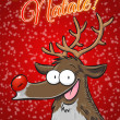 Buon Natale! with Rudolph reindeer postcard. Red with snowflakes. Vertical. (Italian) — Stock Photo #36175483