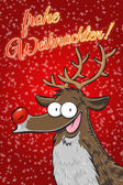 Frohe Frohe Weihnachten with Rudolph the reindeer. Red postcard with snowflakes. Vertical format. (German) — Stock Photo